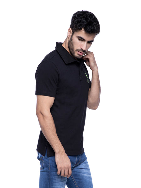 Ficuster Men Black Pique Polo T-Shirt