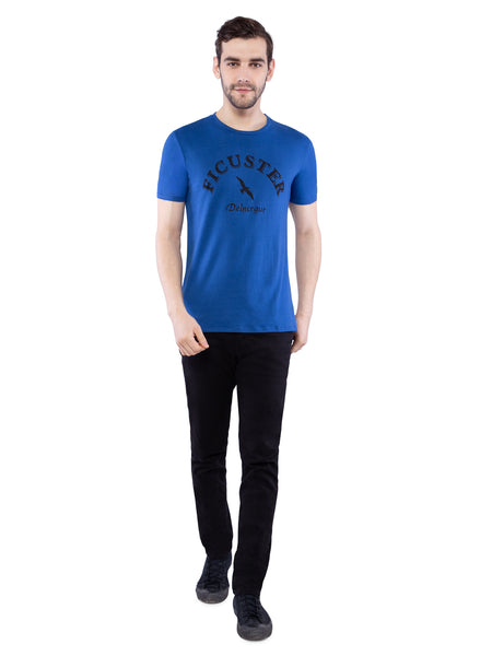 Ficuster Men Blue Crew Neck T-Shirt