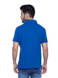 Ficuster Men Blue Pique Polo T-Shirt