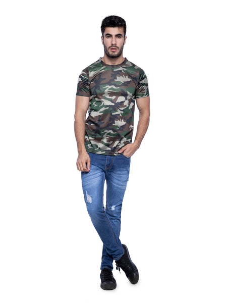 Ficuster Men Dark Green Crew Neck Camouflage T-Shirt