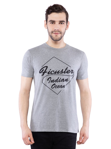 Ficuster Men Grey Crew Neck T-Shirt