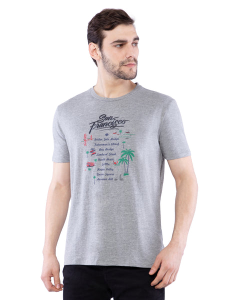 Ficuster Men Grey Printed Crew Neck T-Shirt