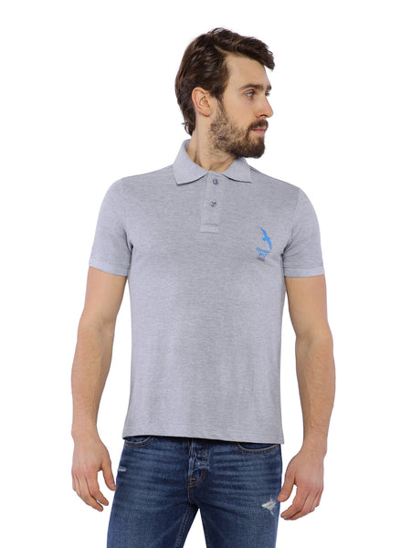 Ficuster Men Grey Pique Polo T-Shirt