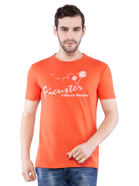Ficuster Men Orange Printed Crew Neck T-Shirt