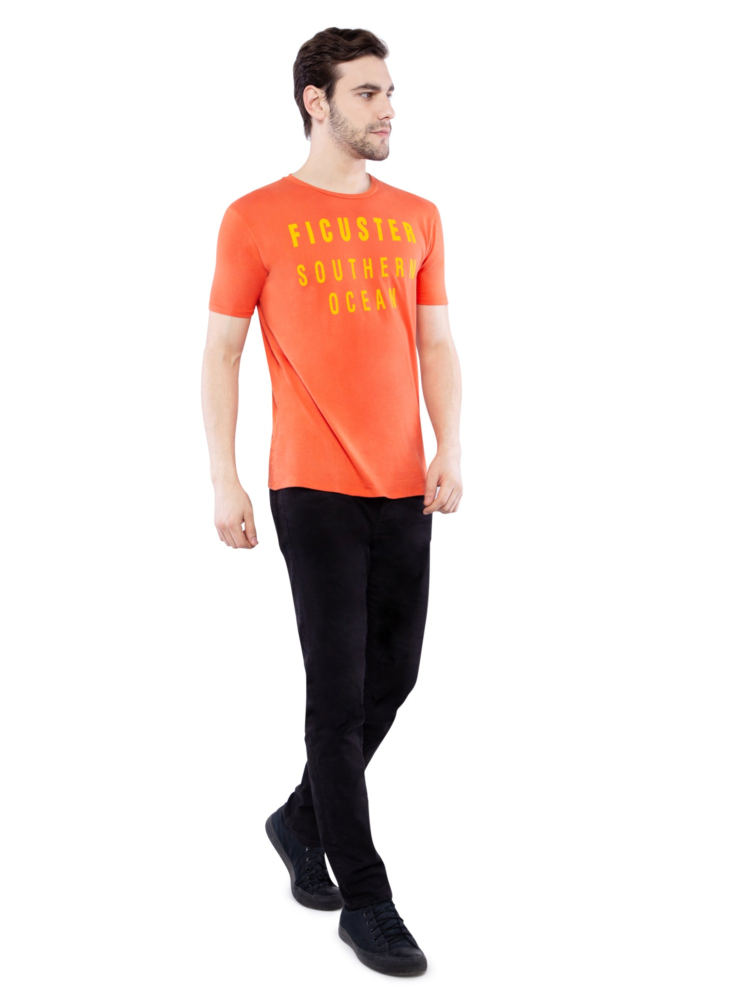 Ficuster Men Orange Printed T-Shirt
