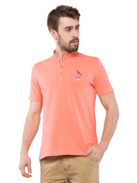 Ficuster Men Peach Mandarin Collar T-Shirt