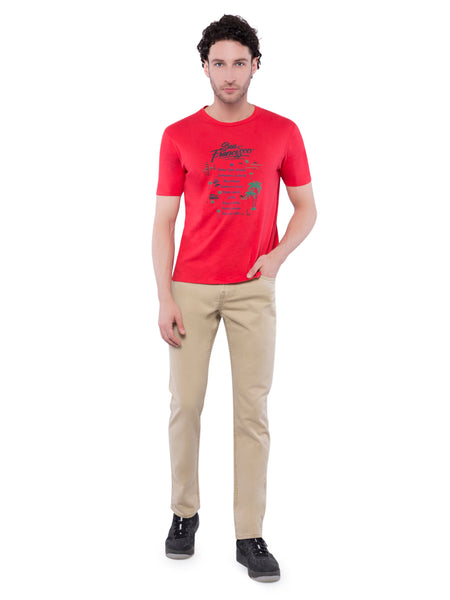 Ficuster Men Red Printed Crew Neck T-Shirt