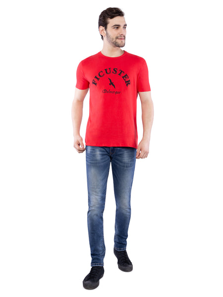 Ficuster Men Red Crew Neck T-Shirt