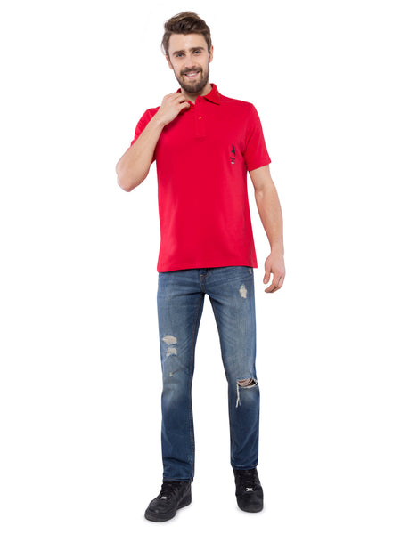 Ficuster Men Red Pique Polo T-Shirt