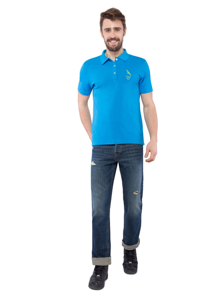 Ficuster Men Sky Blue Pique Polo T-Shirt