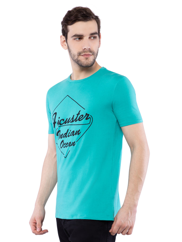 Ficuster Men Turquoise Printed T-Shirt
