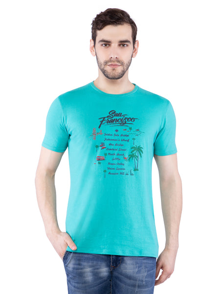 Ficuster Men Turquoise Crew Neck T-Shirt