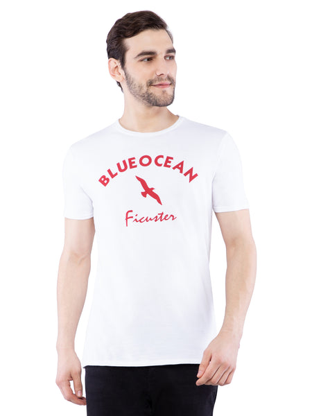 Ficuster Men White Printed Crew Neck T-Shirt