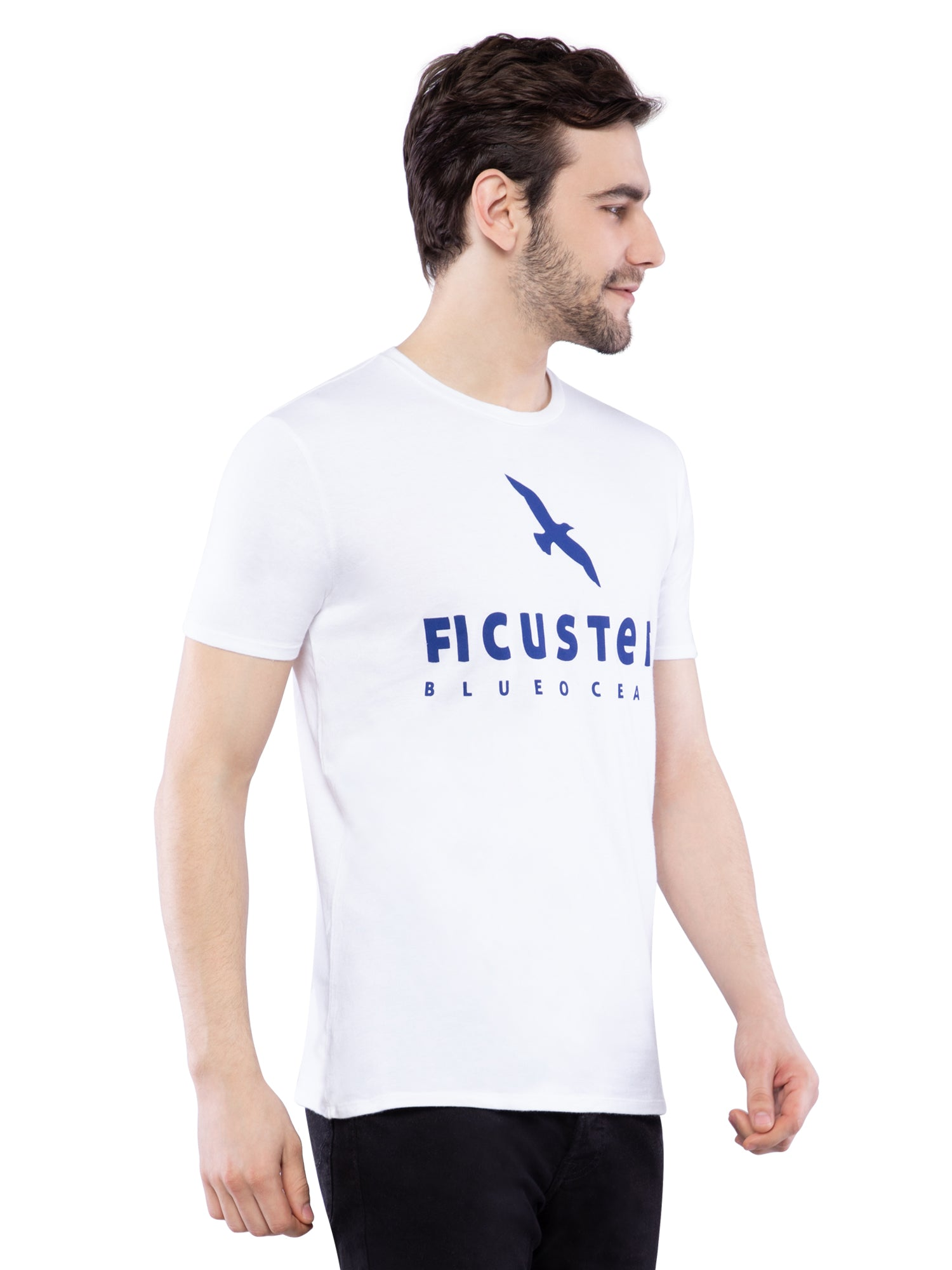 Ficuster Men White Printed T-Shirt