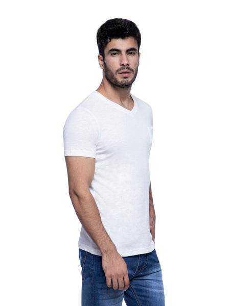 Ficuster Men White V-Neck T-Shirt