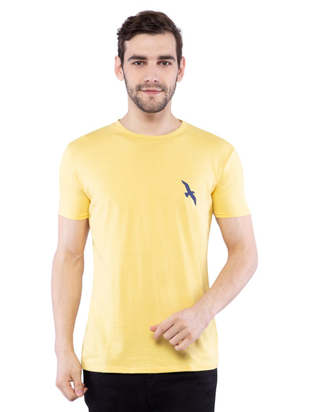 Ficuster Men Yellow Crew  Neck T-Shirt