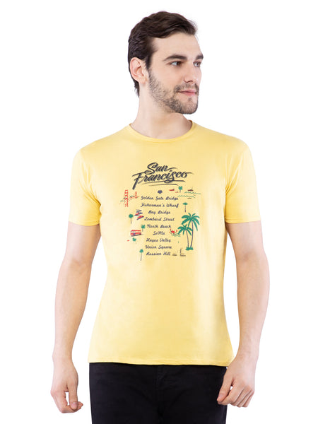 Ficuster Men Yellow Printed Crew Neck T-Shirt