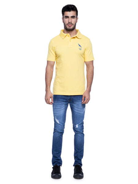 Ficuster Men Yellow Pique Polo T-Shirt