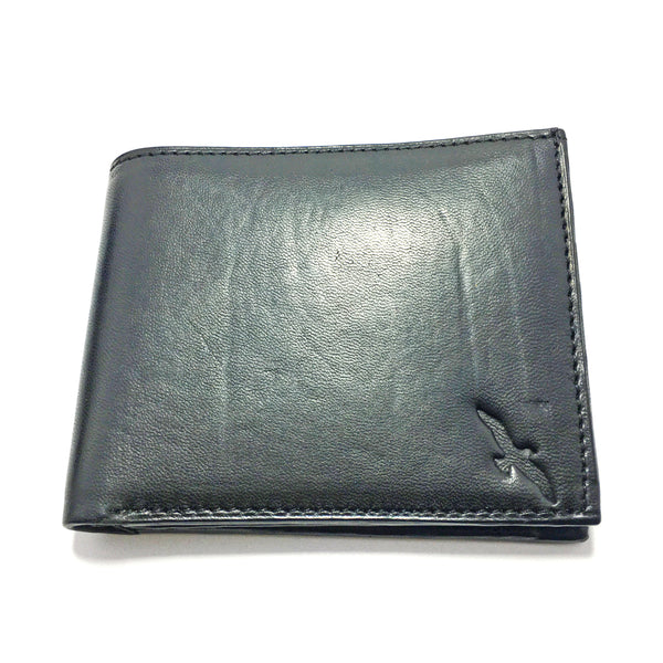 Ficuster Men Black Trifold Leather Wallet