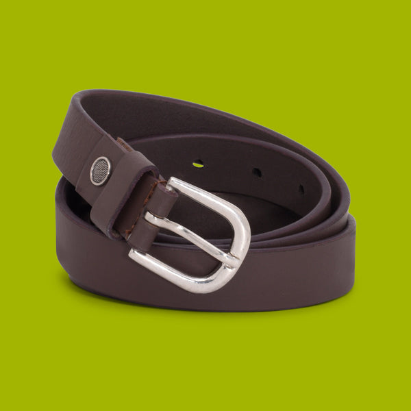 Ficuster Women Tan Glossy Finish Solid Leather Belt