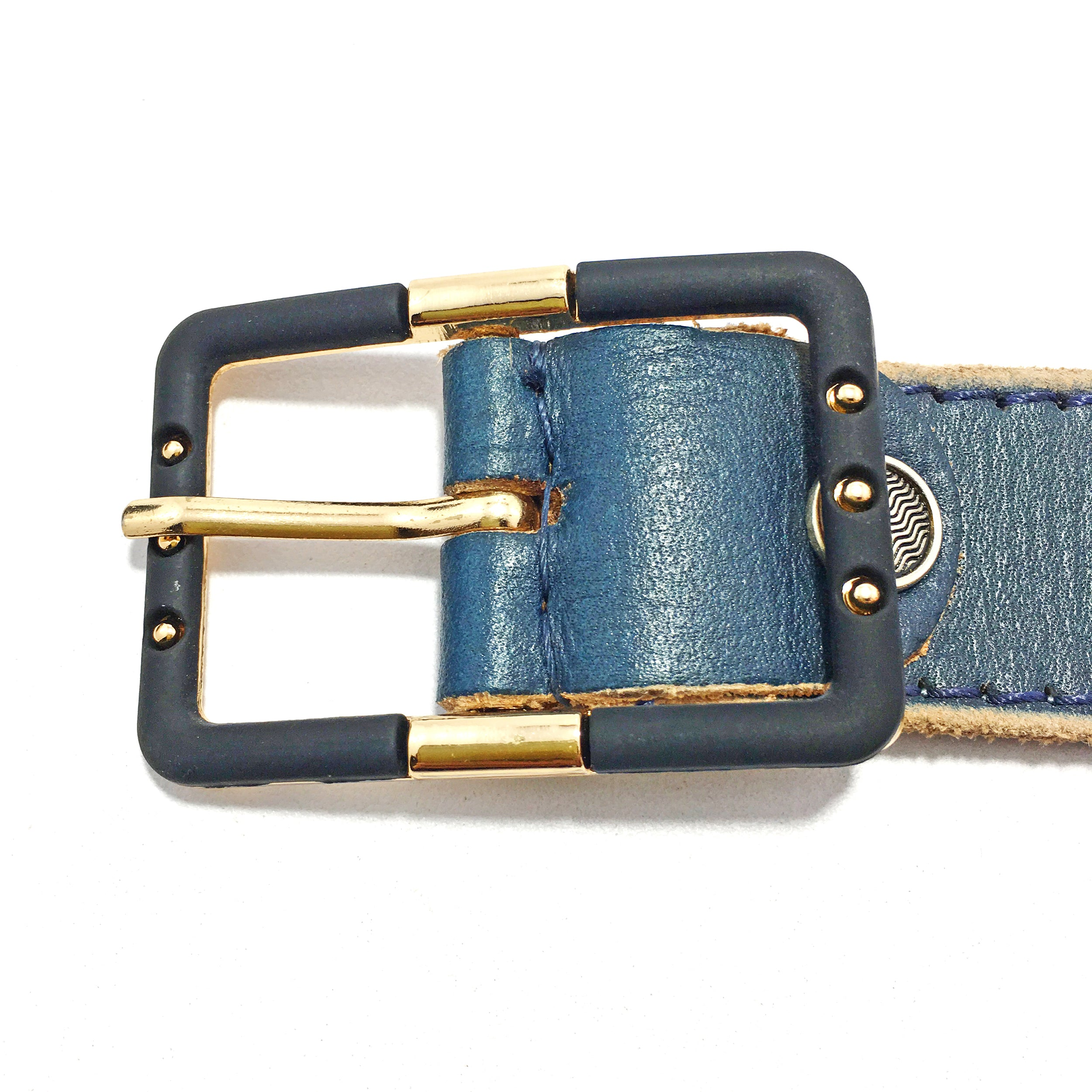 Ficuster Women Dark Blue Glossy Finish Leather Belt