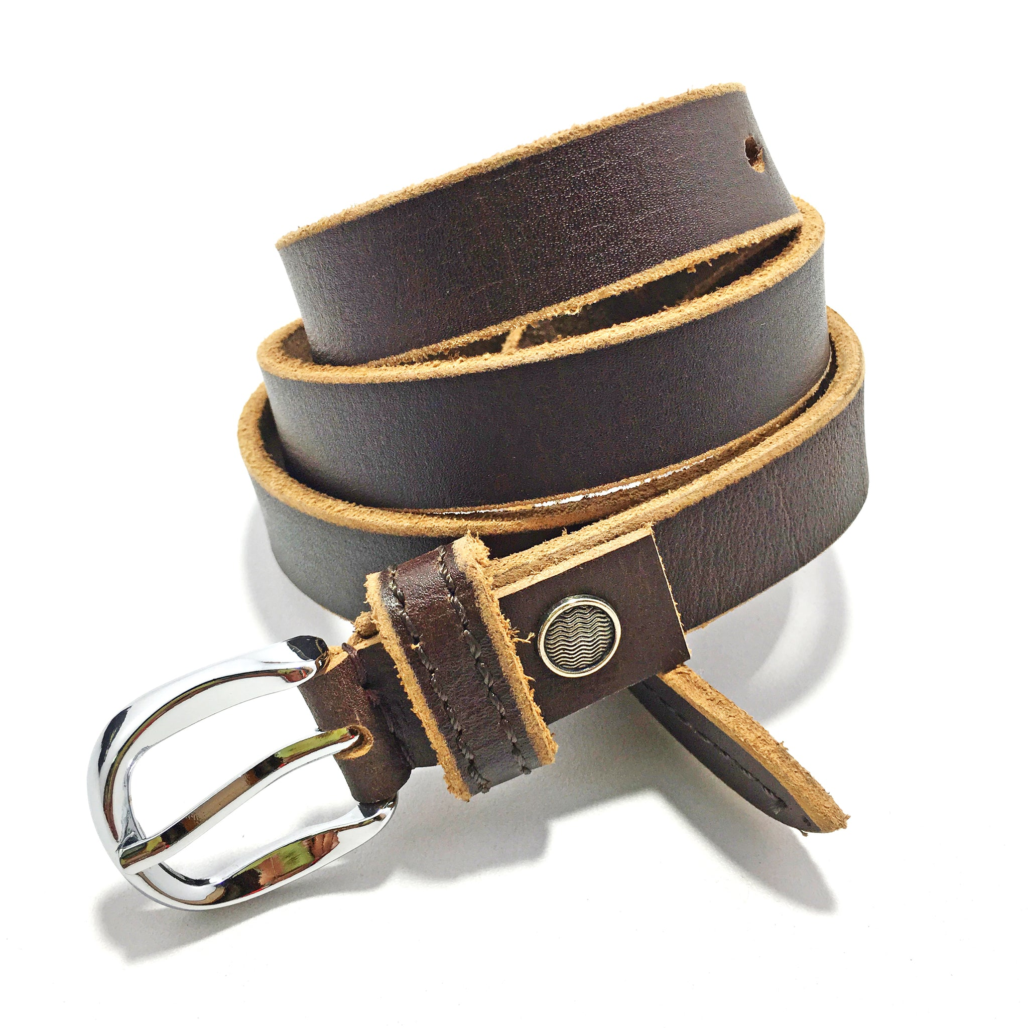 Ficuster Women Tan Glossy Finish Genuine Leather Belt