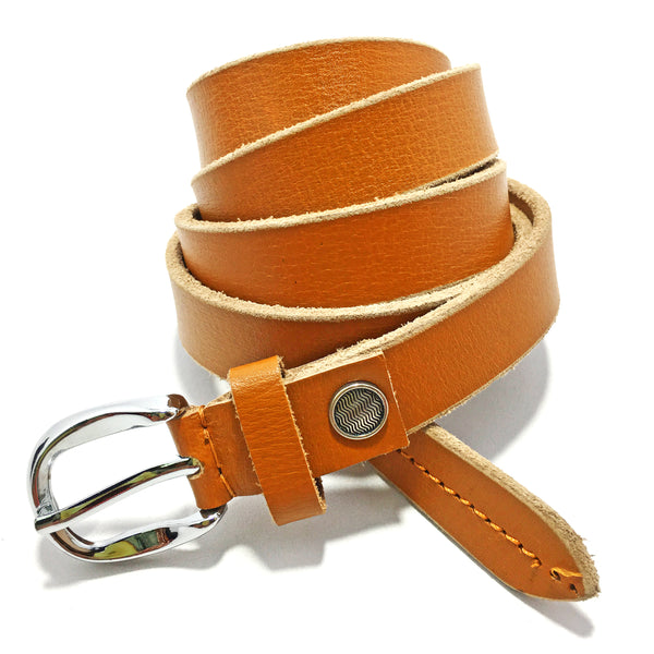 Ficuster Women Brown Glossy Finish Genuine Leather Belt