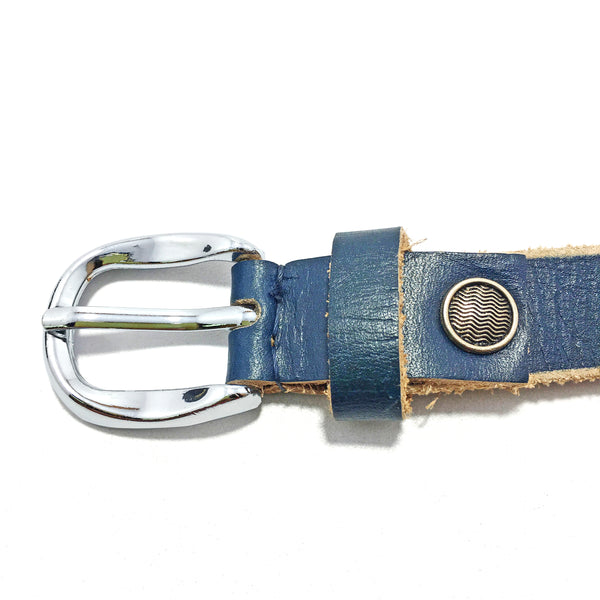 Ficuster Women Dark Blue Glossy Finish Genuine Leather Belt