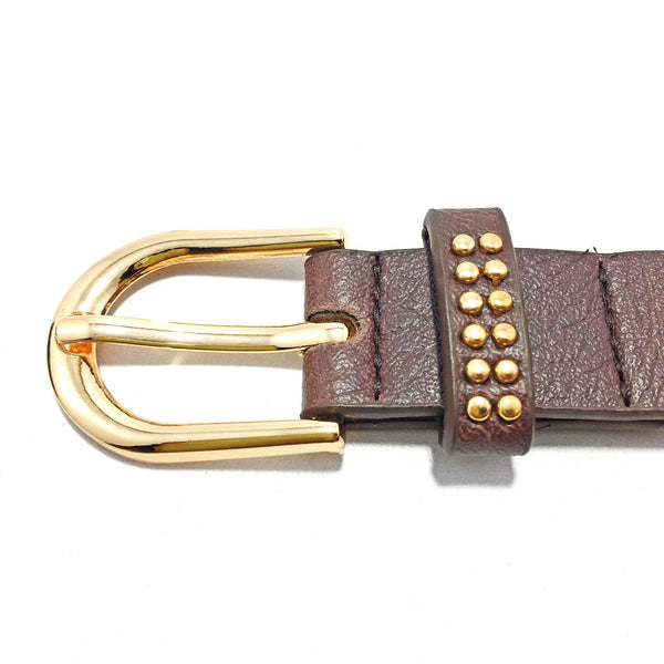 Ficuster Women Tan Glossy Finish Studded PU Belt