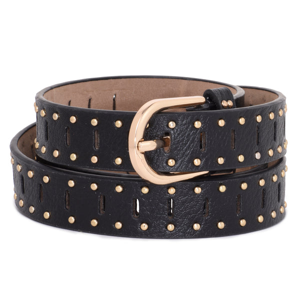 Ficuster Women Black Glossy Finish Studded PU Belt