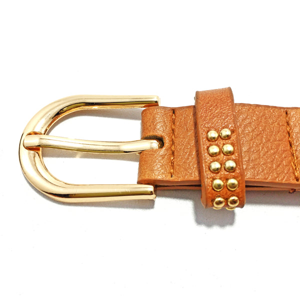 Ficuster Women Brown Glossy Finish Studded PU Belt