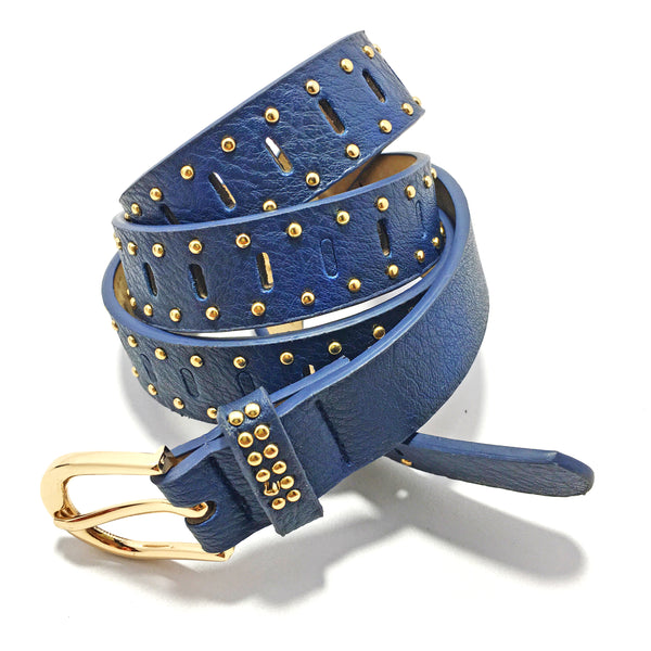Ficuster Women Dark Blue Glossy Finish Studded PU Belt