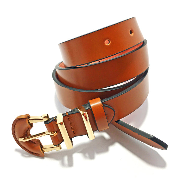 Ficuster Women Brown Glossy Finish PU Belt