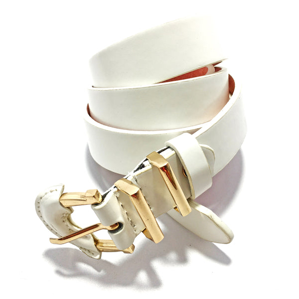 Ficuster Women White Glossy Finish PU Belt