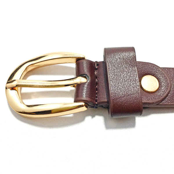 Ficuster Women Tan Glossy Finish PU Belt