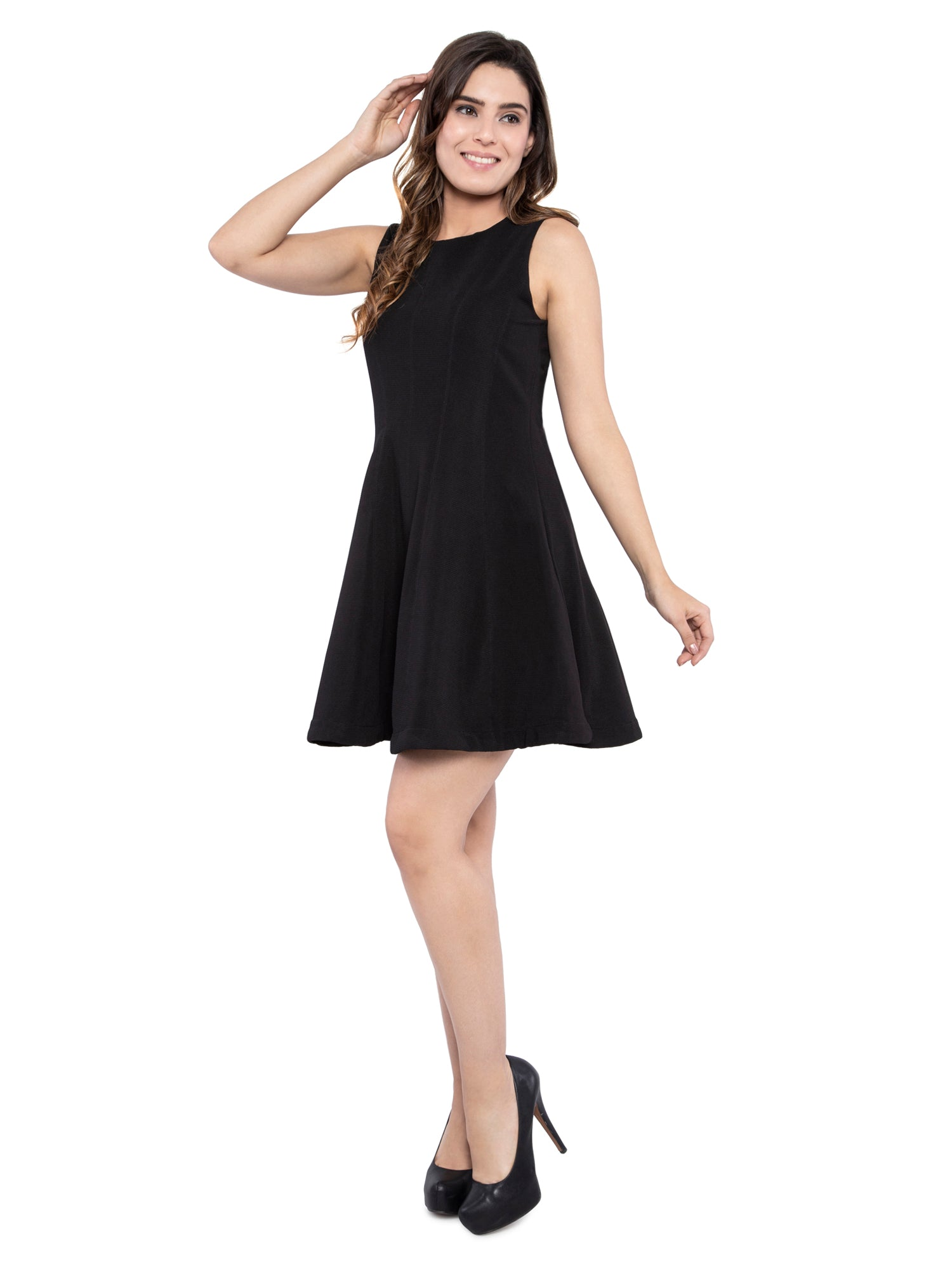 Ficuster Women Solid Black Skater A Line Dress