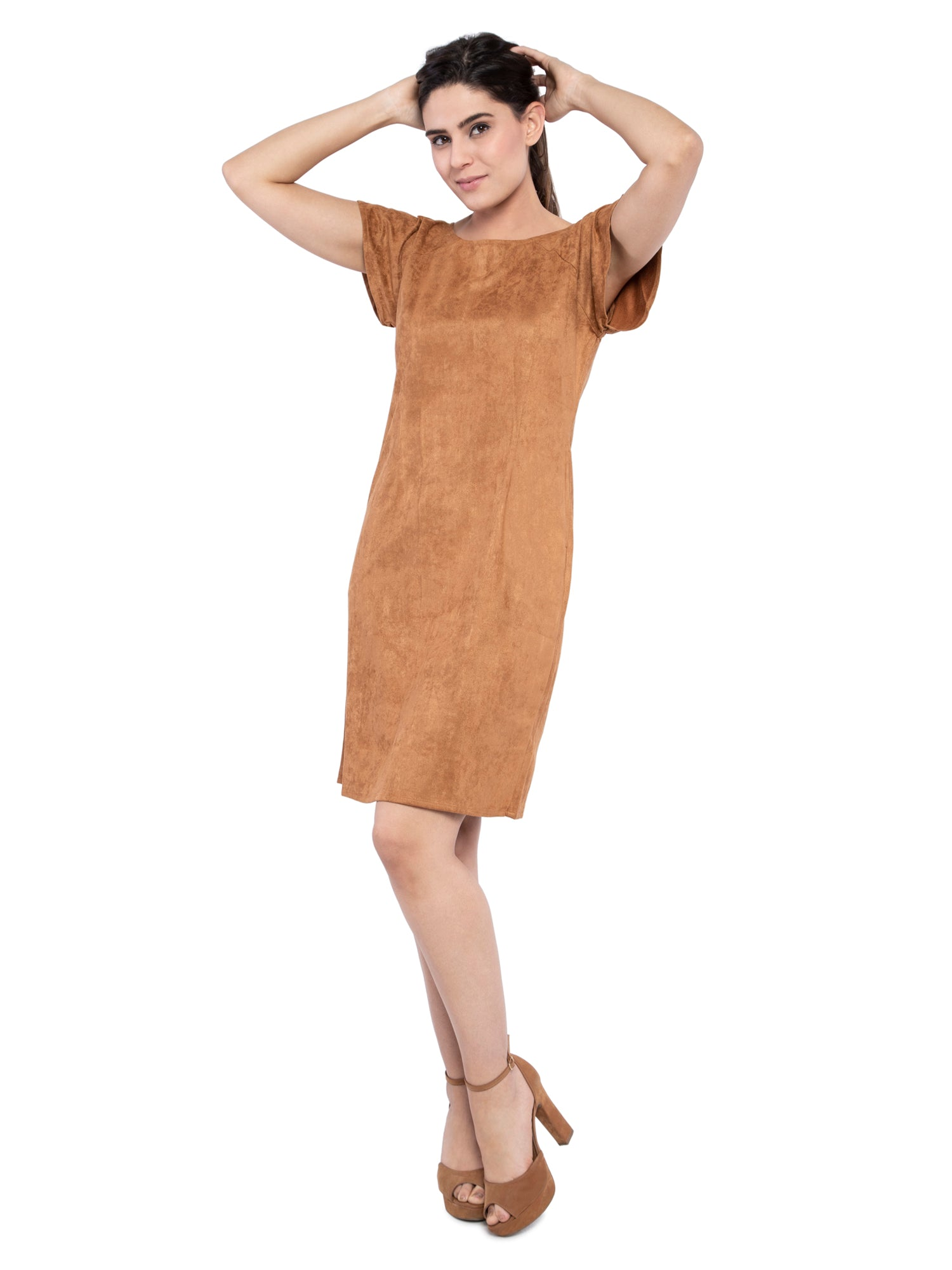 Ficuster Women Camel Color Velvet Raglan Sleeves Dress