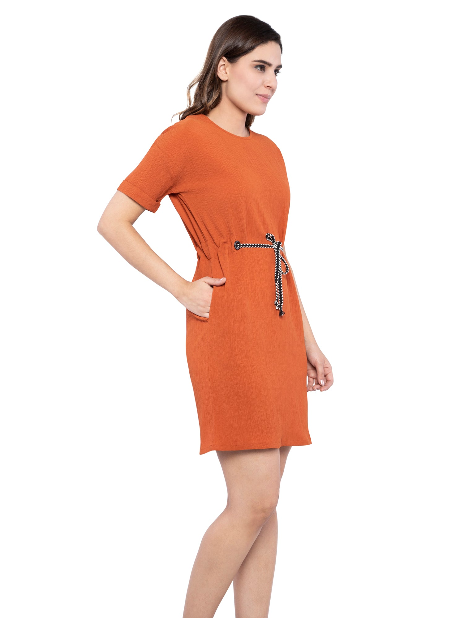 Ficuster Women Drawstring Waist Side Pockets Orange Dress