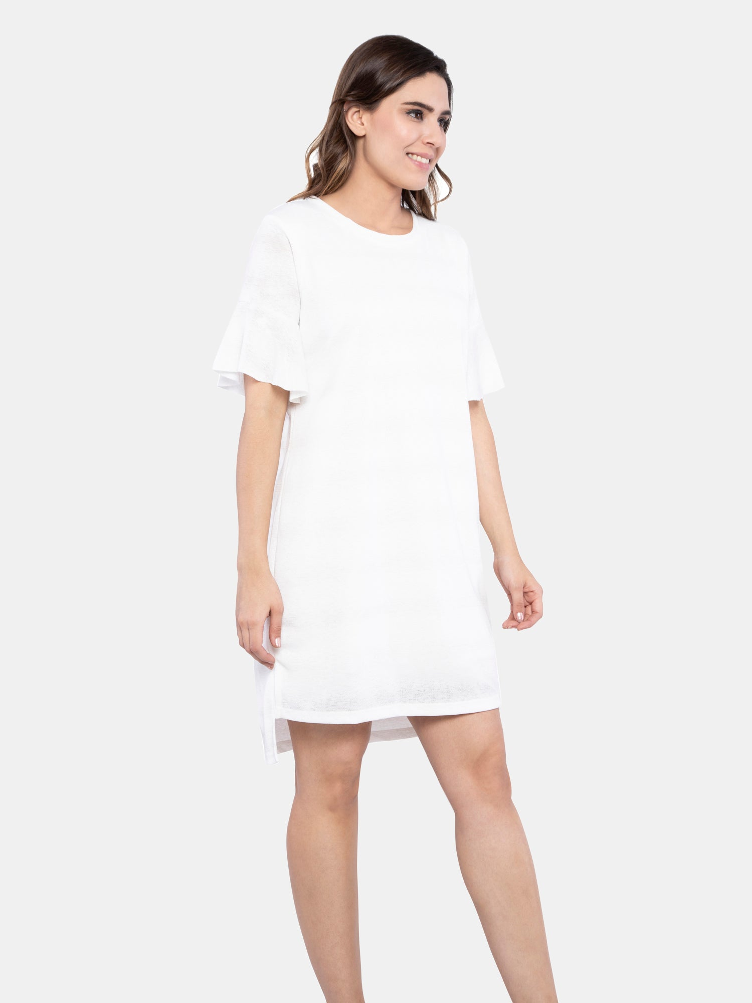 Ficuster Women Bell Sleeve White Dress