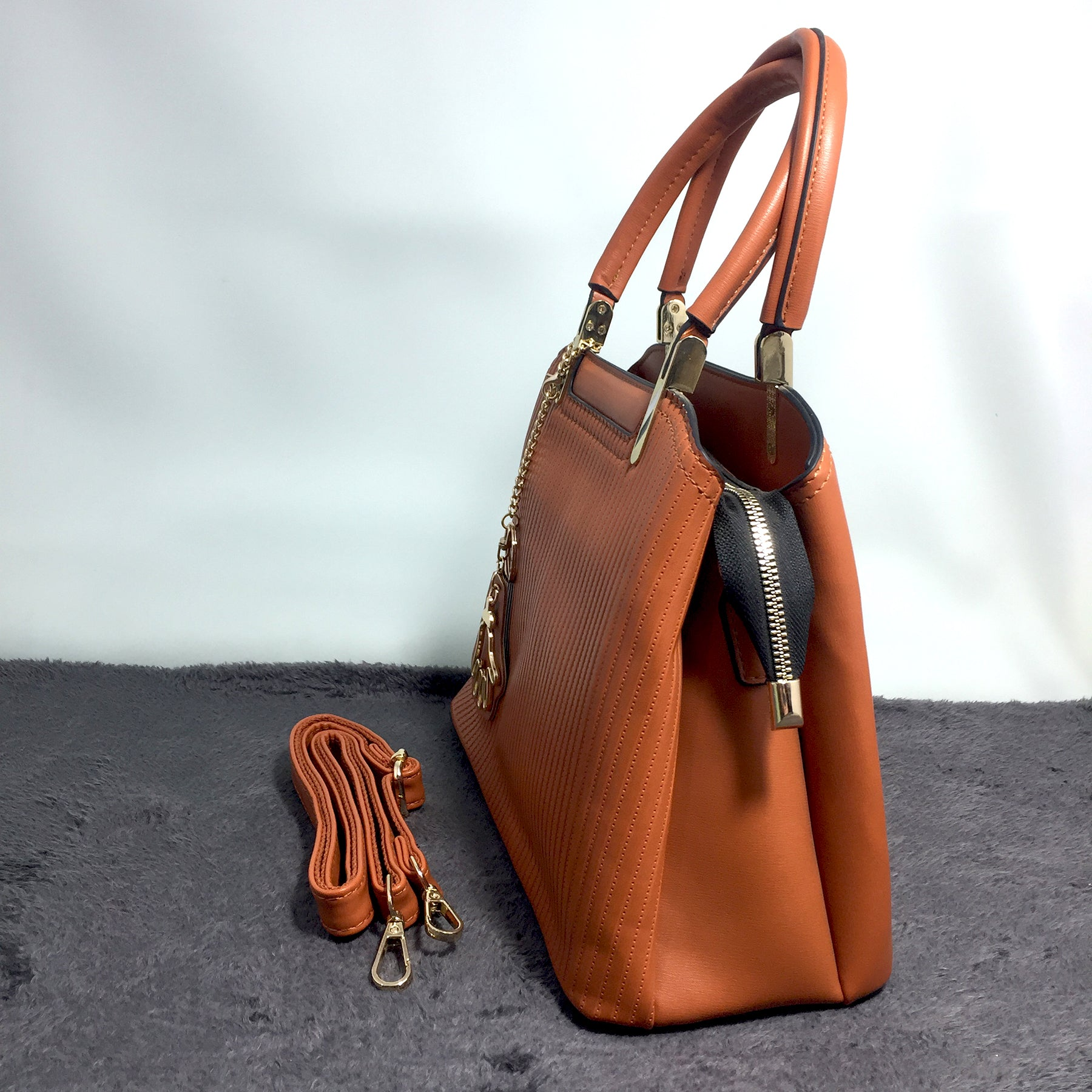 Ficuster Tan Faux Leather Handbag