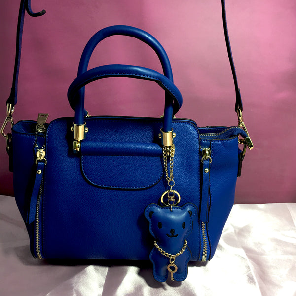 Ficuster Blue Faux Leather Handbag
