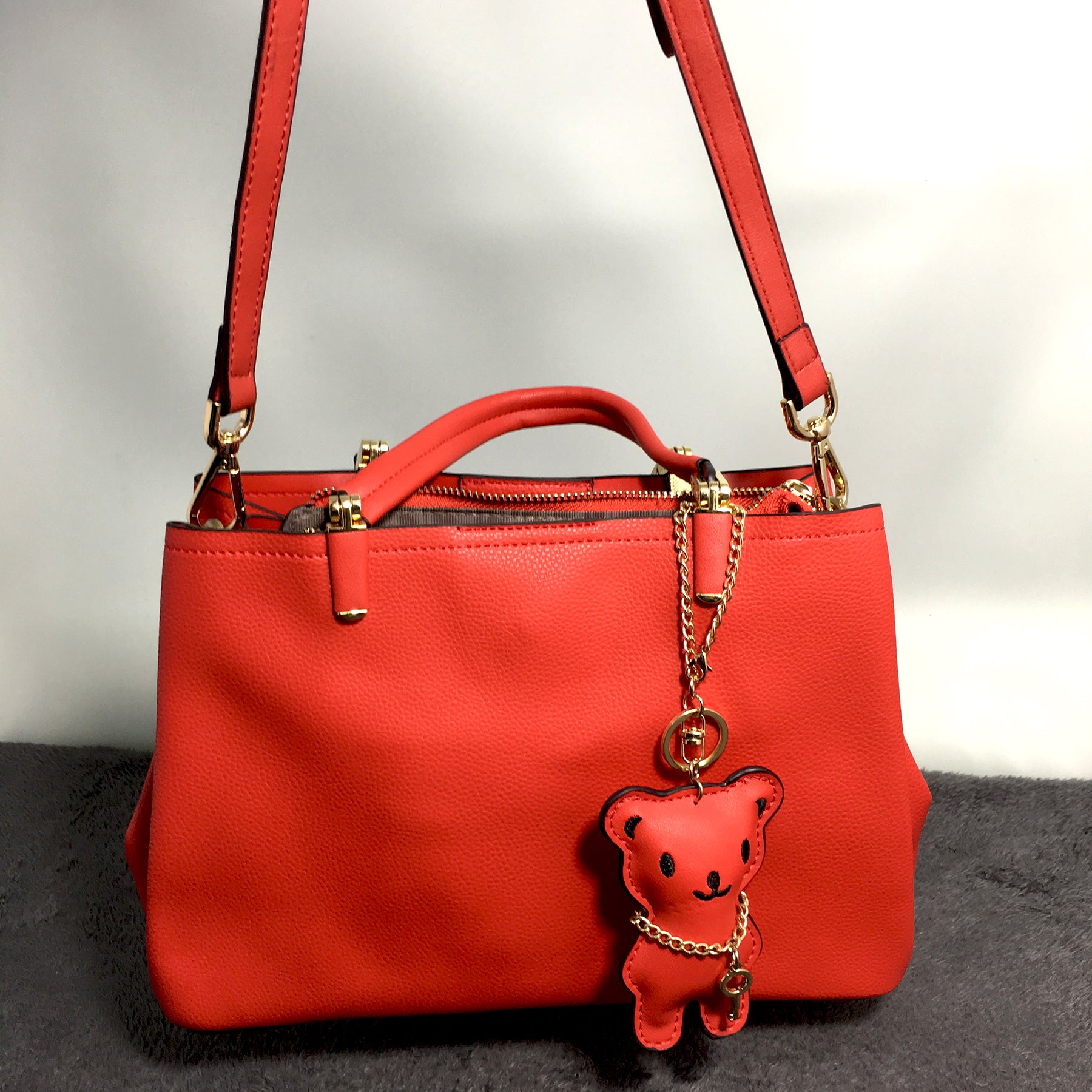 Ficuster Red Faux Leather Handbag