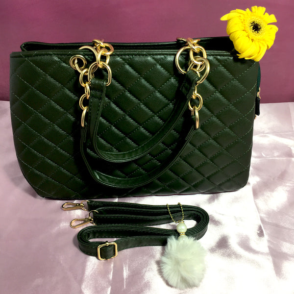 Ficuster Dark Green Faux Leather Handbag