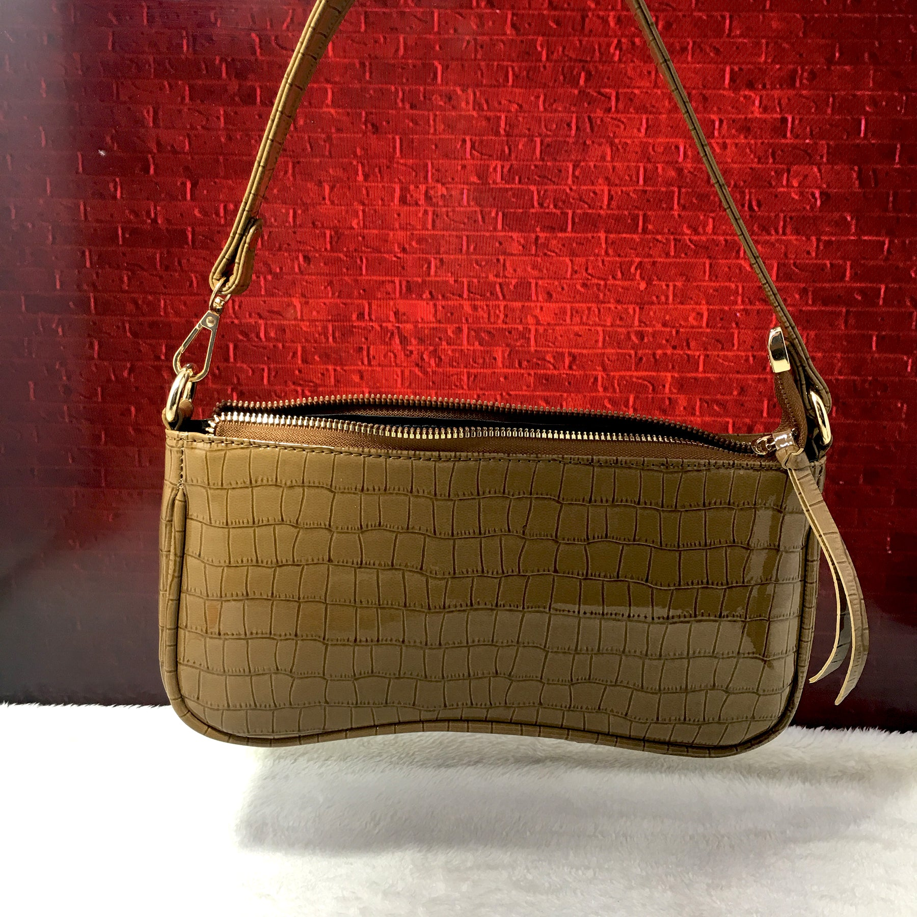 Ficuster Light Brown Faux Leather Handbag