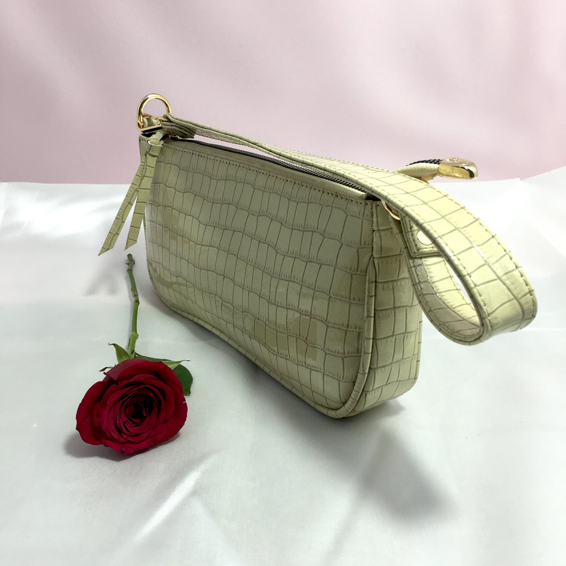 Ficuster Faux Leather Beige Handbag