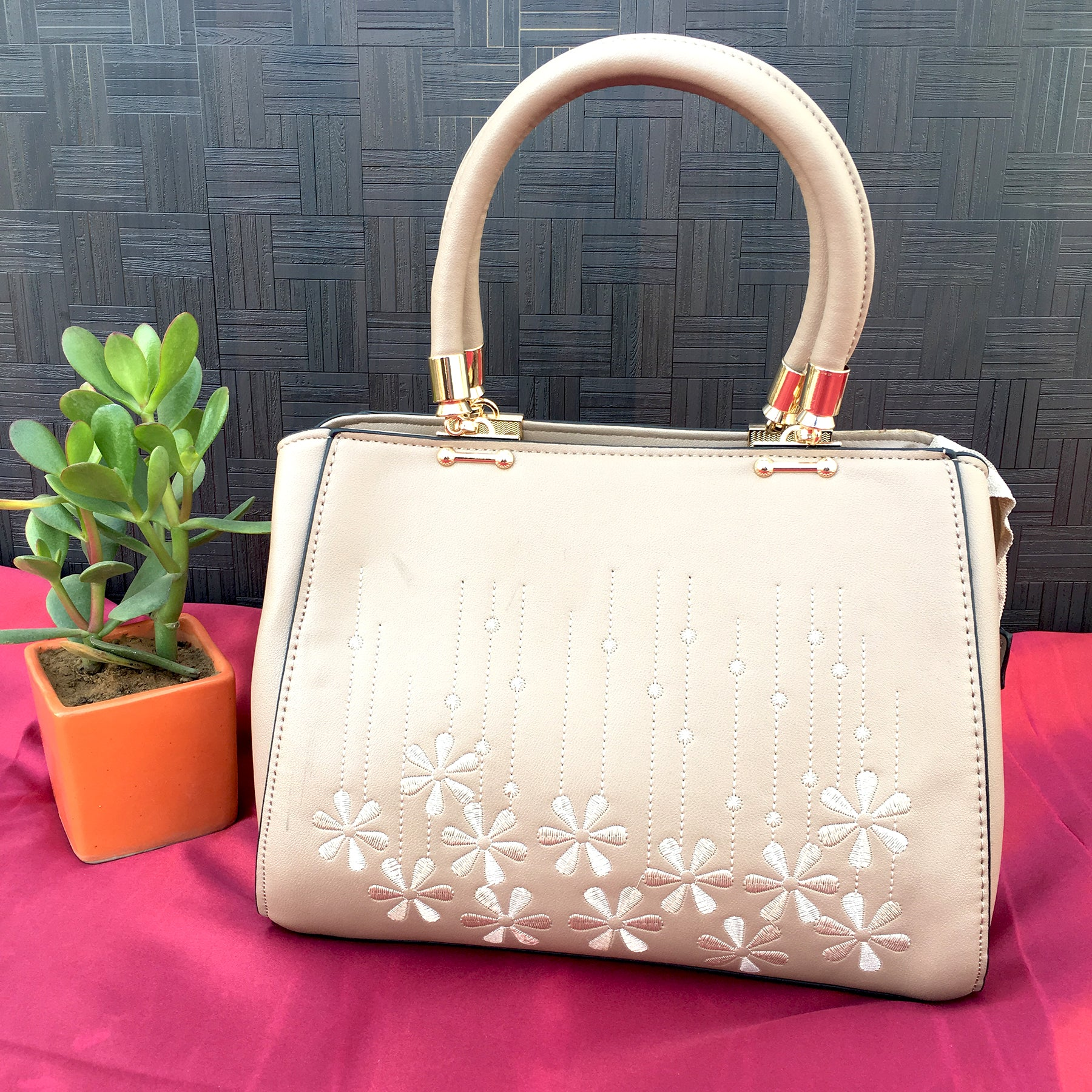Ficuster Off White Faux Leather Handbag