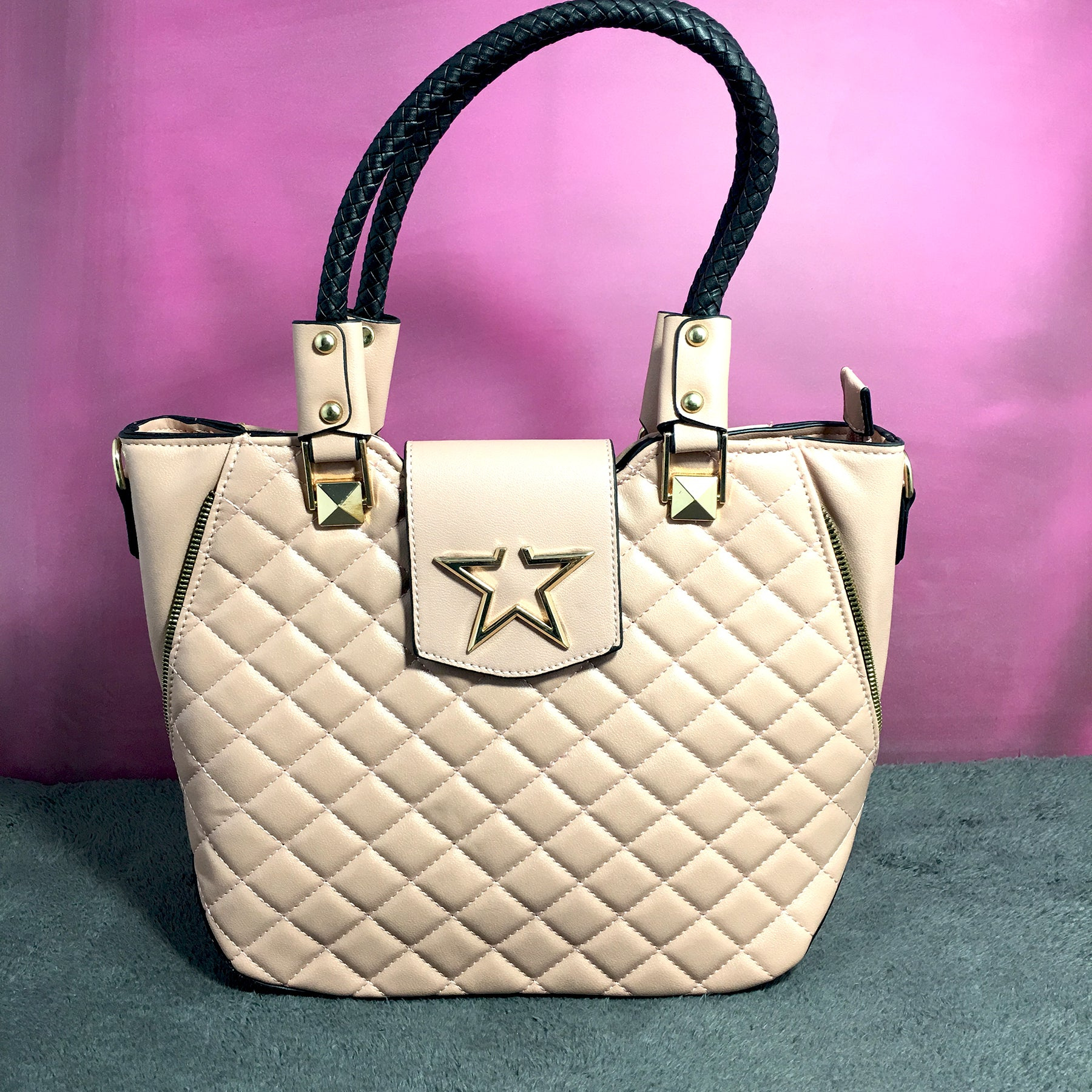 Ficuster Light Pink Faux Leather Handbag