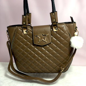 Ficuster Brown Faux Leather Handbag