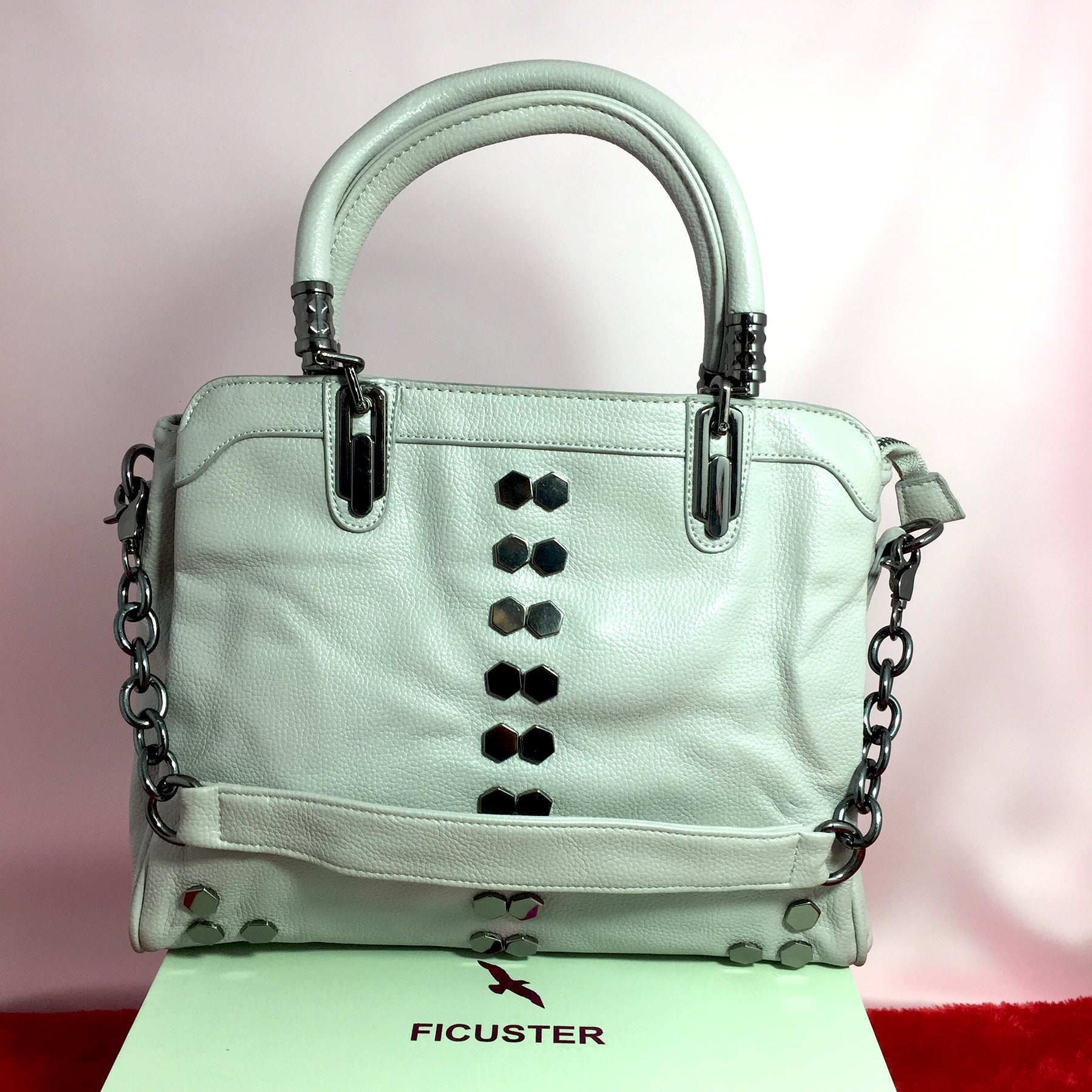 Ficuster White Faux Leather Handbag