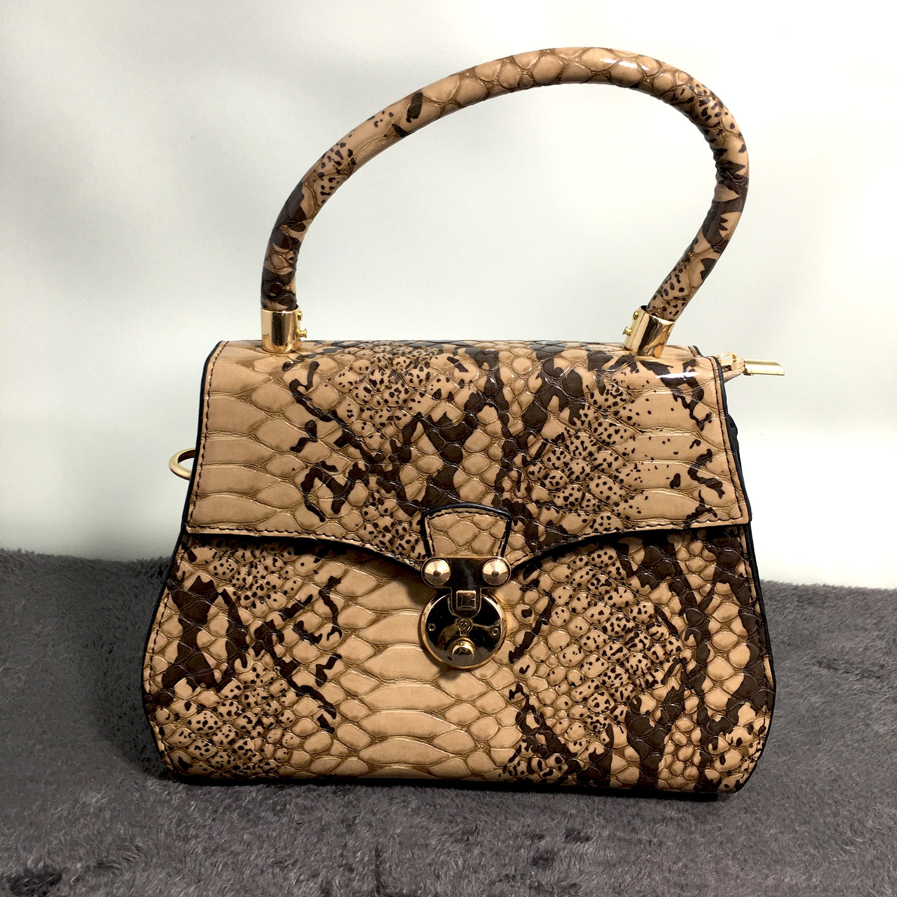 Ficuster Croc Pattern Brown Handbag